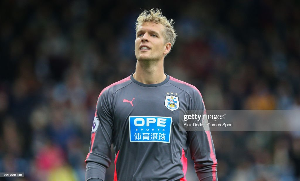 Huddersfield Town's Jonas Lossl during the Premier League match between Burnley and Huddersfield Town at Turf Moor on September 23, 2017 in Burnley, England.
