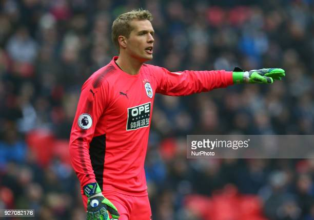 Huddersfield Town's Jonas Lossl during the Premiership League match between Tottenham Hotspur and Huddersfield Town at Wembley London England on 03...