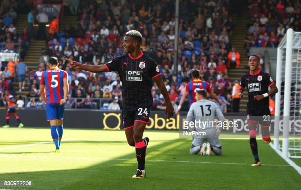 Huddersfield Town's JSteve Mounie celebrate the 3rd goal during Premier League match between Crystal Palace and Huddersfield Town at Selhurst Park...