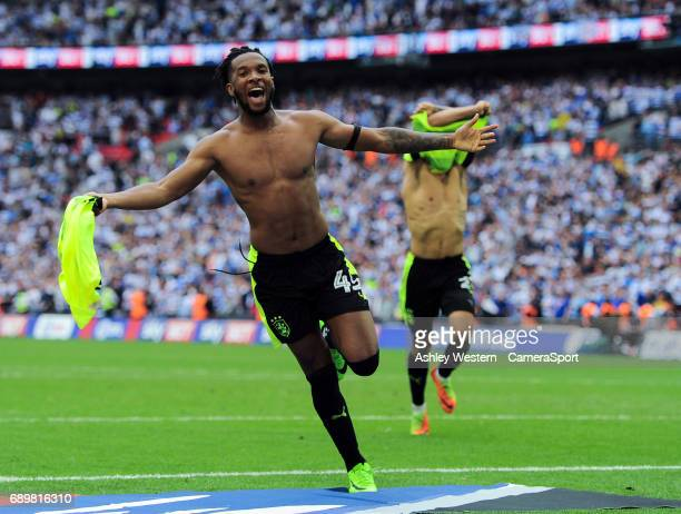 Huddersfield Town's Kasey Palmer celebrates after the winning penalty by Christopher Schindler in the EFL Sky Bet Championship PlayOff Final match...