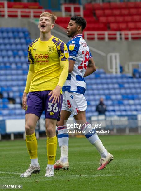 Huddersfield Town's Kieran Phillips shows his frustration after missing a shot a goal during the Sky Bet Championship match between Reading and...