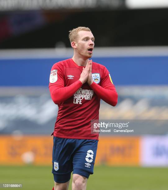 Huddersfield Town's Lewis O'Brien after going close with a first half shot during the Sky Bet Championship match between Queens Park Rangers and...