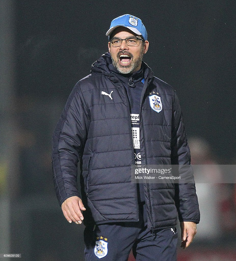 Huddersfield Town's Manager David Wagner celebrates as the game ends during the Sky Bet Championship match between Burton Albion and Huddersfield Town at Pirelli Stadium on December 13, 2016 in Burton-upon-Trent, England.