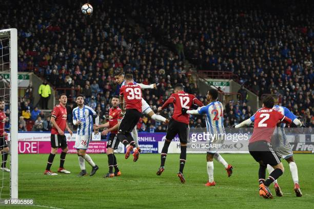 Huddersfield Town's Morroccan midfielder Abdelhamid Sabiri cannot direct his header at the goal during the English FA Cup fifth round football match...