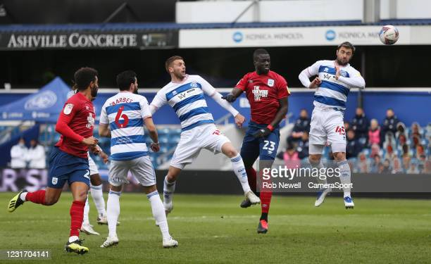 Huddersfield Town's Mouhamadou-Naby Sarr with a header towards goal in the first half during the Sky Bet Championship match between Queens Park...