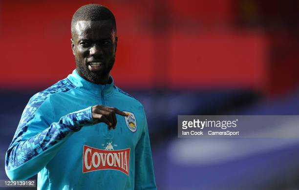 Huddersfield Town's Naby Sarr during the prematch warmup during the Sky Bet Championship match between Swansea City and Huddersfield Town at Liberty...