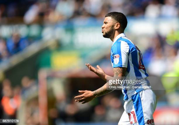Huddersfield Town's Nahki Wells reacts after he was ruled offside during the Sky Bet Championship PlayOff Semi Final First Leg match between...