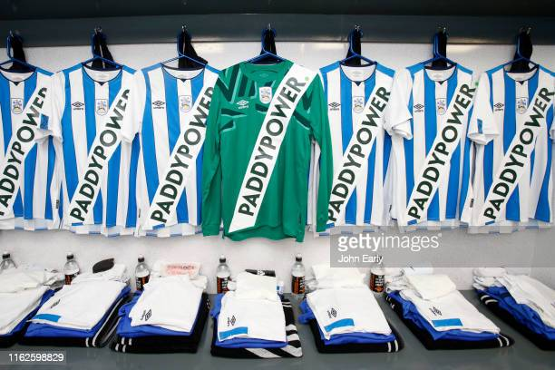 Huddersfield Town's new kit hangs in the away dressing room at theCrown Oil Arena on July 17 2019 in Rochdale England