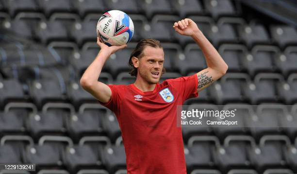 Huddersfield Town's Richard Stearman prepares a throw in during the Sky Bet Championship match between Swansea City and Huddersfield Town at Liberty...