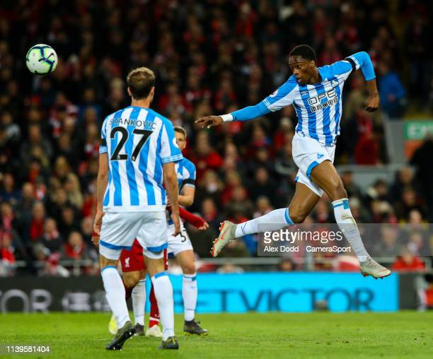 Huddersfield Town's Terence Kongolo in action during the Premier League match between Liverpool FC and Huddersfield Town at Anfield on April 26 2019...