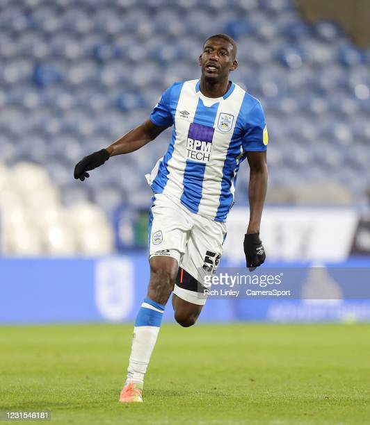 Huddersfield Town's Yaya Sanogo during the Sky Bet Championship match between Huddersfield Town and Cardiff City at John Smith's Stadium on March 5,...