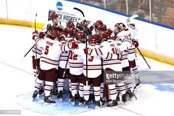 UMASS huddles up before the Northeast Regional final between the UMASS Minutemen and the Notre Dame Fighting Irish on March 30 at SNHU Arena in...