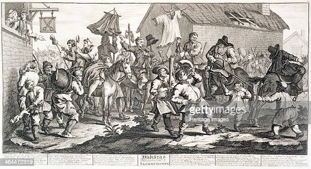 'Hudibras encounters the Skimmington' 18th century Hudibras attempting to talk to the riotous crowd They are blowing horns and beating drums and pots...