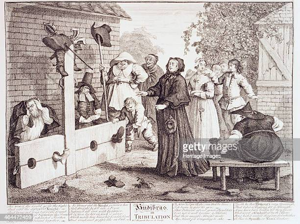 'Hudibras in Tribulation' 18th century Hudibras in the stocks his bare foot poking through one of the holes He turns his head away in shame as he...