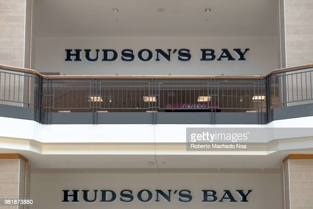 Hudson Bay store sign and the modern architecture of Fairview Mall