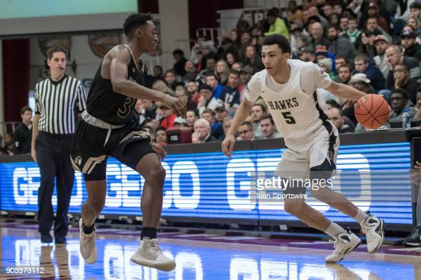 Hudson Catholic Hawks guard Jahvon Quinerly drives to the basket during the second half of the Spalding Hoophall Classic high school basketball game...
