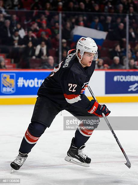 Hudson Fasching of Team United States skates in a quarterfinal round during the 2015 IIHF World Junior Hockey Championships against Team Russia at...