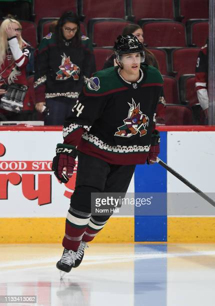 Hudson Fasching of the Arizona Coyotes skates during warmups prior to a game against the Detroit Red Wings at Gila River Arena on March 2 2019 in...