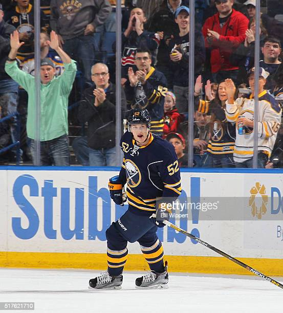 Hudson Fasching of the Buffalo Sabres celebrates his first NHL during an NHL game against the Winnipeg Jets on March 26 2016 at the First Niagara...