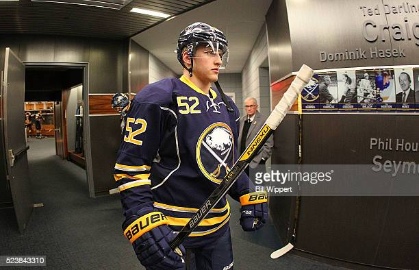 Hudson Fasching of the Buffalo Sabres heads to the ice to play the Toronto Maple Leafs in an NHL game on March 31 2016 at the First Niagara Center in...