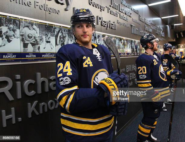 Hudson Fasching of the Buffalo Sabres heads to the ice to play the Ottawa Senators in an NHL game on December 12 2017 at KeyBank Center in Buffalo...