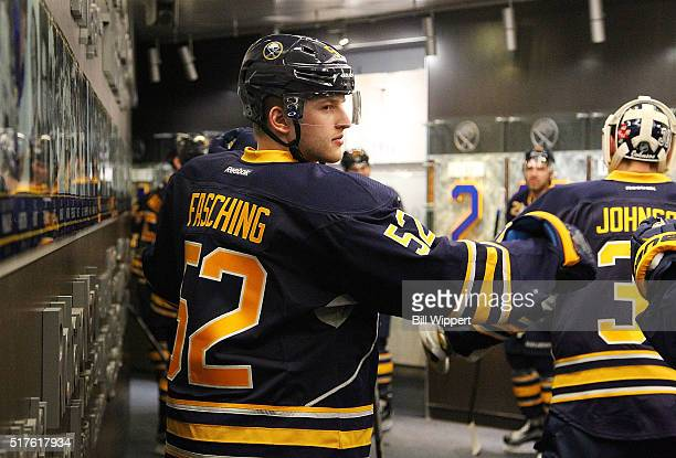 Hudson Fasching of the Buffalo Sabres prepares to play the Winnipeg Jets in his first NHL game on March 26 2016 at the First Niagara Center in...