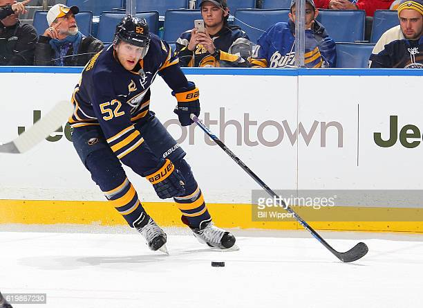 Hudson Fasching of the Buffalo Sabres skates against the Minnesota Wild during an NHL game at the KeyBank Center on October 27 2016 in Buffalo New...