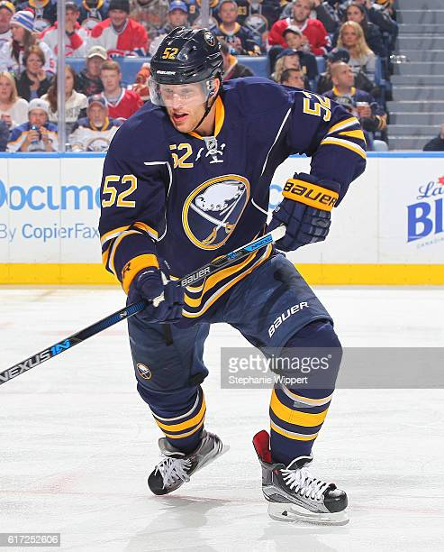 Hudson Fasching of the Buffalo Sabres skates against the Montreal Canadiens during an NHL game at the KeyBank Center on October 13 2016 in Buffalo...