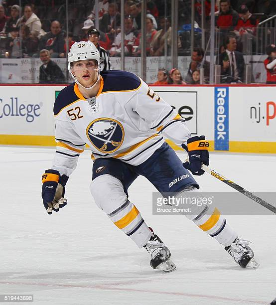 Hudson Fasching of the Buffalo Sabres skates against the New Jersey Devils at the Prudential Center on April 5 2016 in Newark New Jersey The Sabres...