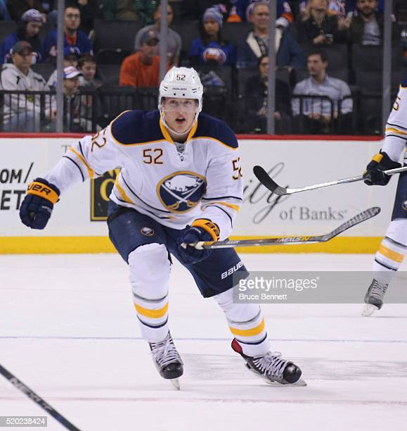 Hudson Fasching of the Buffalo Sabres skates against the New York Islanders at the Barclays Center on April 9 2016 in the Brooklyn borough of New...