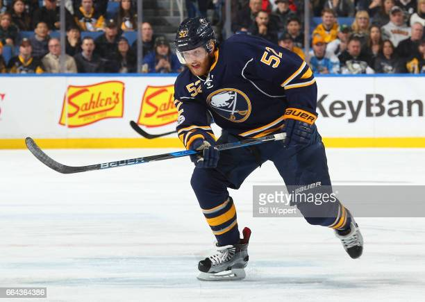 Hudson Fasching of the Buffalo Sabres skates against the Pittsburgh Penguins during an NHL game at the KeyBank Center on March 21 2017 in Buffalo New...