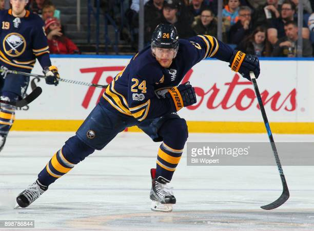 Hudson Fasching of the Buffalo Sabres skates during an NHL game against the Carolina Hurricanes on December 15 2017 at KeyBank Center in Buffalo New...