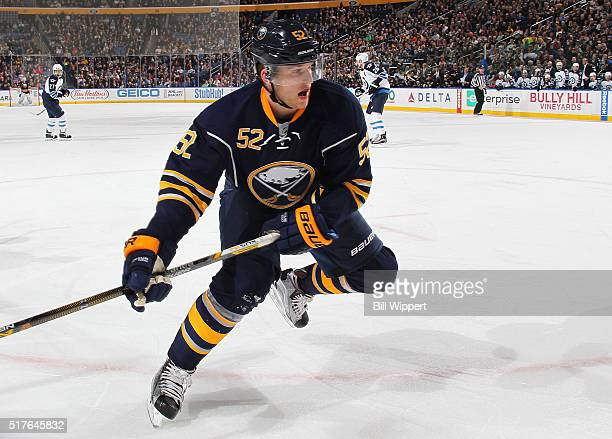 Hudson Fasching of the Buffalo Sabres skates in his first NHL game against the Winnipeg Jets on March 26 2016 at the First Niagara Center in Buffalo...