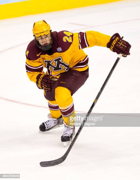 Hudson Fasching of the Minnesota Golden Gophers skates up ice against North Dakota during the NCAA Division I Men's Ice Hockey Frozen Four...