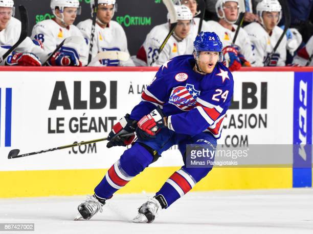 Hudson Fasching of the Rochester Americans skates against the Laval Rocket during the AHL game at Place Bell on October 25 2017 in Laval Canada The...