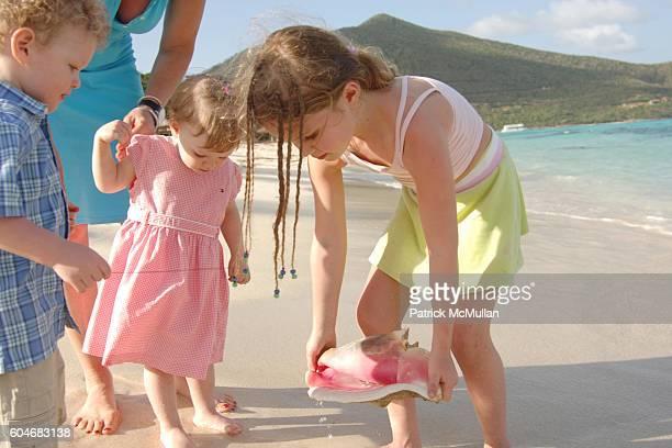 Hudson Harden Scheel Julitta Dee Harden Scheel and Eulala Grace Scheel attend Raffles Resort Canouan Island Family Fun at Godahl Beach at Raffles...
