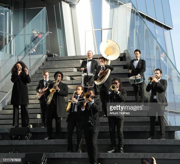 Hudson Horns perform at the opening of Edge the Western Hemisphere's highest outdoor sky deck on March 11 2020 in New York City