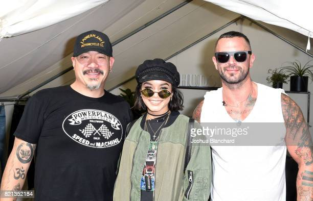 Hudson Jeans CEO Peter Kim actress Vanessa Hudgens and Hudson Jeans President Matthew Fior attend the Hudson Jeans FYF Fest Style Lounge at...