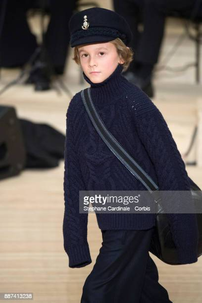Hudson Kroenig walks the runway during the Chanel Collection Metiers d'Art Paris Hamburg 2017/18 at the Elbphilharmonie on December 6 2017 in Hamburg...