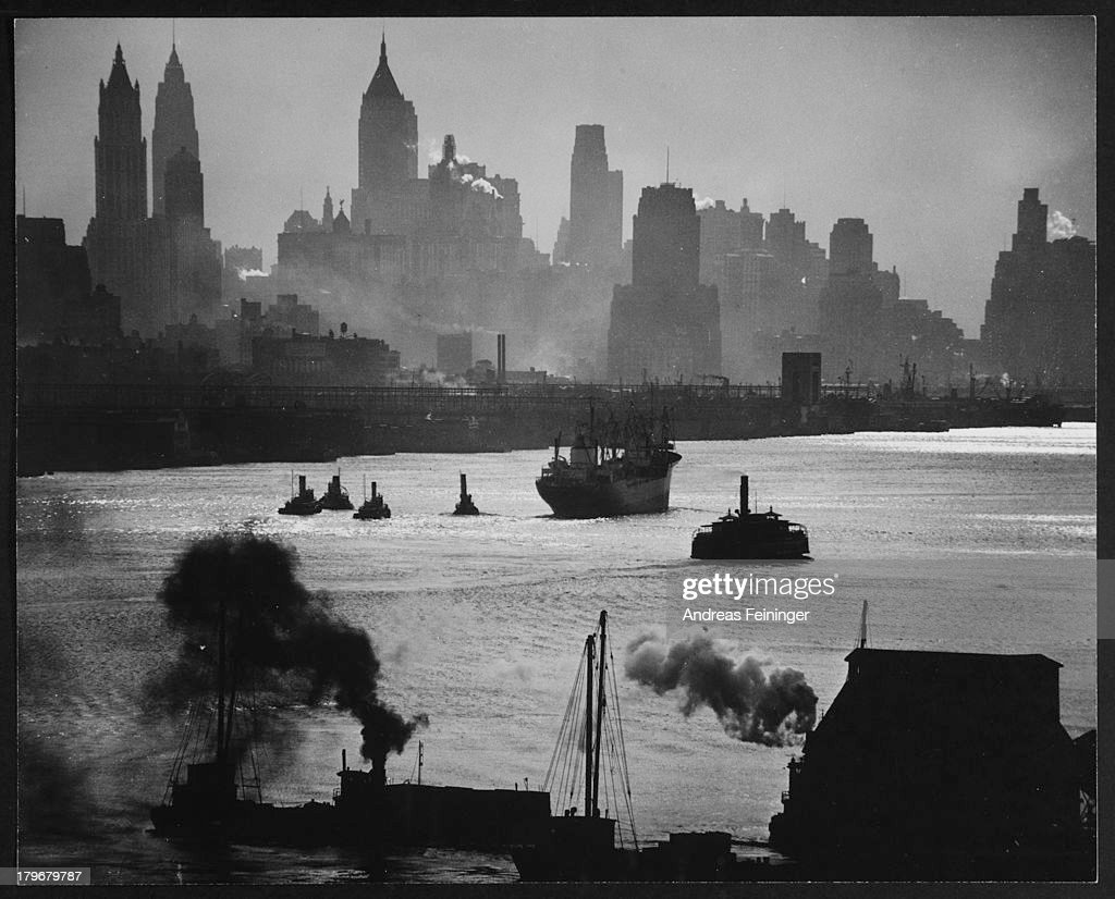 Hudson River and view of Downtown Manhattan, New York, New York, 1950.