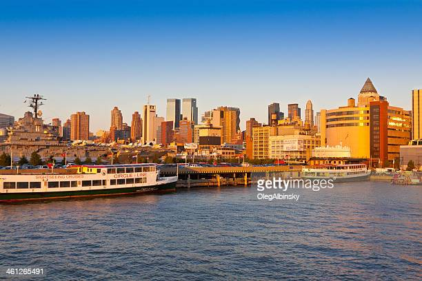 Hudson River Shoreline and New York City Skyline.
