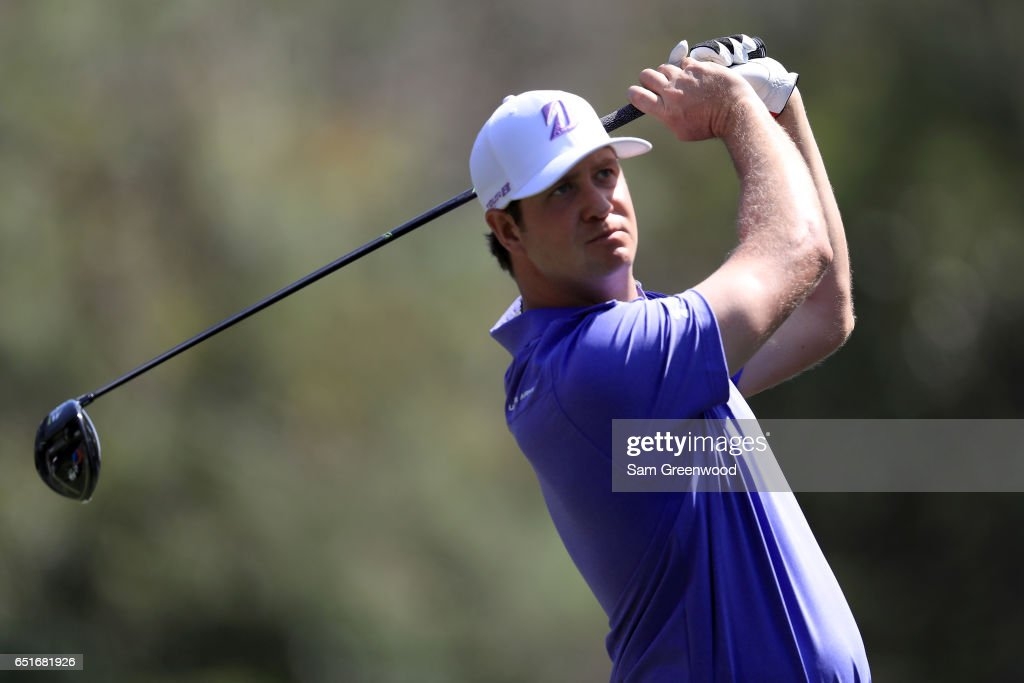 Hudson Swafford hits off the ninth tee during the second round of the Valspar Championship at Innisbrook Resort Copperhead Course on March 10, 2017 in Palm Harbor, Florida.