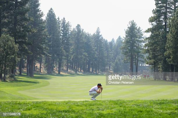 Hudson Swafford looks over the fifth green during the third round of the Barracuda Championship at Montreux Country Club on August 4 2018 in Reno...