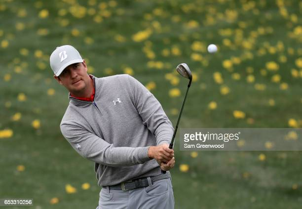 Hudson Swafford of the United States plays a shot during a practice round for the Arnold Palmer Invitational Presented By MasterCard at the Bay Hill...