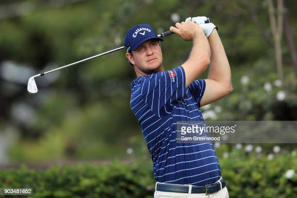 Hudson Swafford of the United States plays a shot during the proam tournament prior to the Sony Open In Hawaii at Waialae Country Club on January 10...