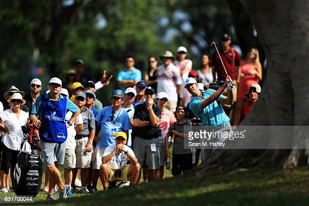 Hudson Swafford of the United States plays a shot on the fifth hole during the third round of the Sony Open In Hawaii at Waialae Country Club on...
