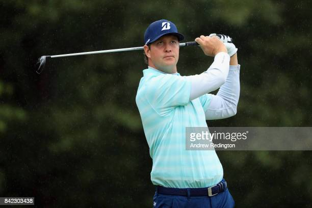 Hudson Swafford of the United States plays his shot from the 17th tee during round three of the Dell Technologies Championship at TPC Boston on...