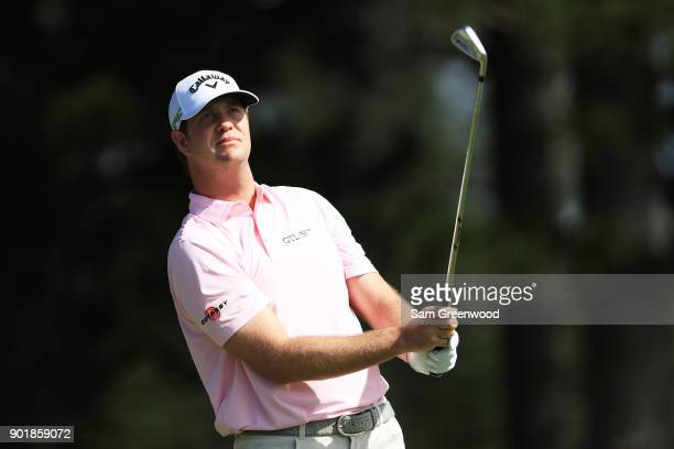 Hudson Swafford of the United States plays his shot from the second tee during the second round of the Sentry Tournament of Champions at Plantation...