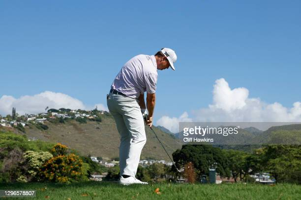 Hudson Swafford of the United States plays his shot from the seventh tee during the second round of the Sony Open in Hawaii at the Waialae Country...