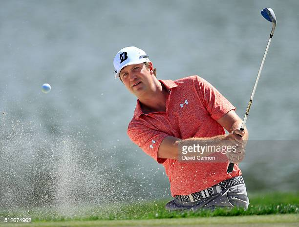Hudson Swafford of the United States plays his third shot on the par 4 first hole during the third round of the 2016 Honda Classic held on the PGA...